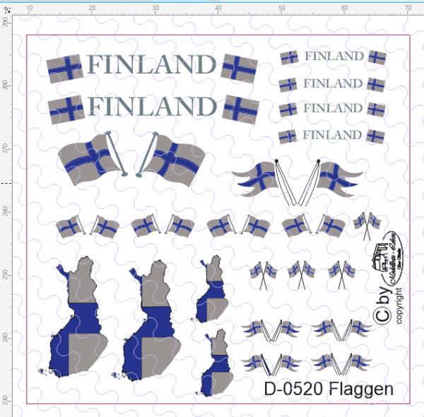 D-0520 Flaggenset Finnland - 1 Satz 1:87
