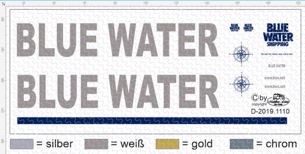 D-2019.1110 - Decalsatz Blue Water für Planenauflieger und Fahrerhaus - 1 Satz 1:87