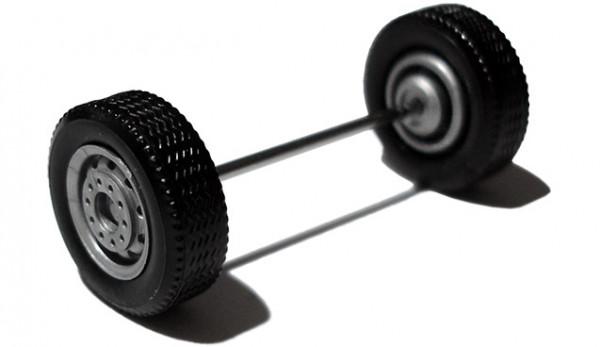 690003 D - Radsatz silber, Breitreifen (Vorderachse / Aufliegerachse)