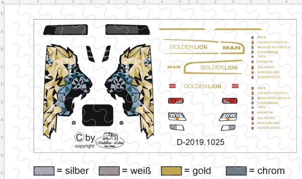 D-2019.1025 - Decalsatz Golden Lion Zugmaschine 1:87 - 1 Satz
