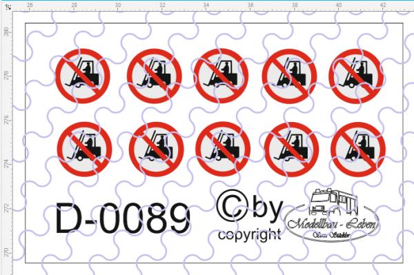D-0089 Warntafel Staplerverbot für Tankcontainer 10 Sück Decalsatz 1:87