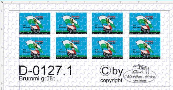 D-0127.1 Brummi - grüßt Schild groß - Decalsatz 8 Stück 1:87